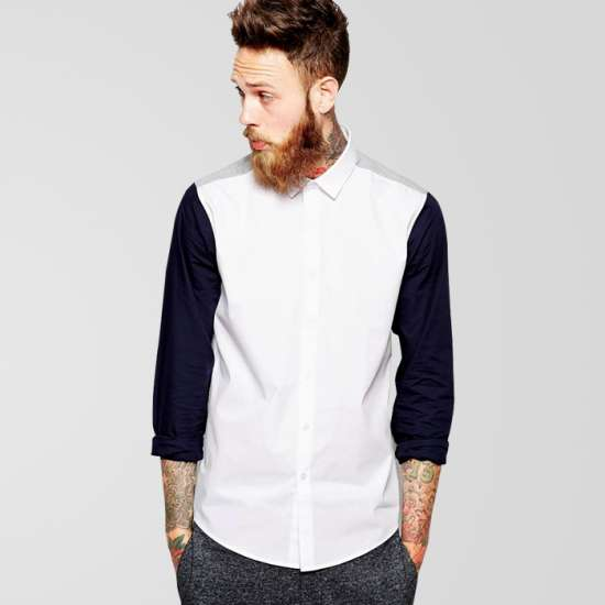White Casual Shirt With Blue Sleeve