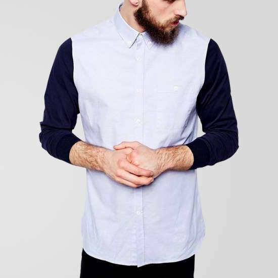 Light Blue Casual Shirt With Dark Blue Sleeve