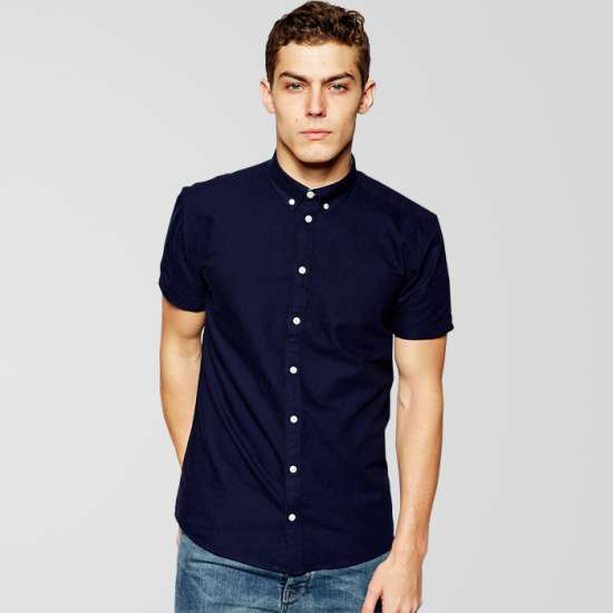 Blue Casual Half Sleeve Shirt With White Button