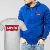 Blue Fleece Zipper Hoodie With Levis T-Shirt