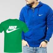 Blue Fleece Zipper Hoodie With Nike T-Shirt