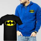 Blue Fleece Zipper Hoodie With Bat Man T-Shirt