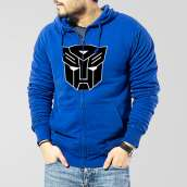 Blue Fleece Zipper Hoodie With Transformer Logo