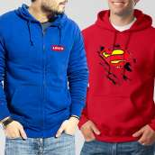 Bundle of 2 Hoodies: Blue Levis + Red New Superman
