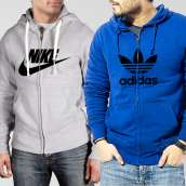 Bundle of 2 Hoodies: Grey Nike + Blue Adidas