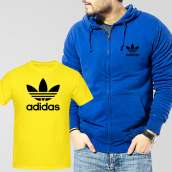 Blue Fleece Zipper Hoodie With Adidas T-Shirt