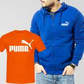 Blue Fleece Zipper Hoodie With Puma T-Shirt