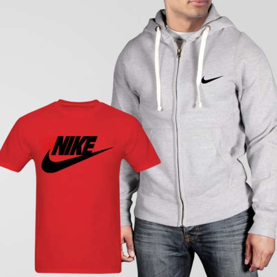 Grey Fleece Zipper Hoodie With Nike T-Shirt