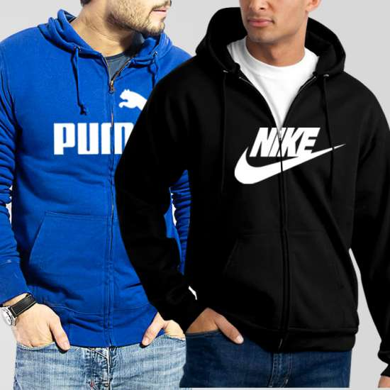 Bundle of 2 Hoodies: Blue Puma + Black Nike