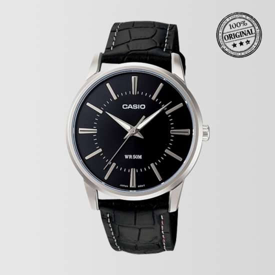 Black Dial Black Leather Strap Mens Watch