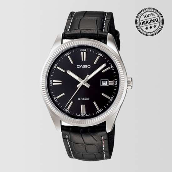 Black Leather Black Dial Strap Mens Watch