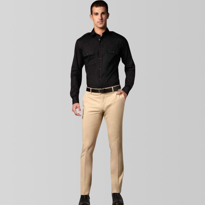 khaki slim fit pant with black formal shirt