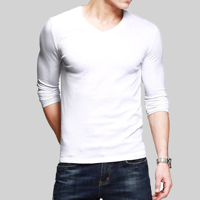 f53b77c09e White V-Neck Full Sleeves T-Shirt - Thestore.pk