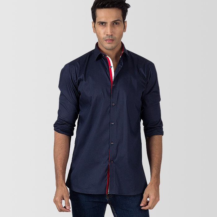 ba52046c6 Navy Blue Cotton Casual Shirt With Red and White Contrast - Thestore.pk