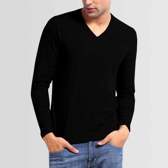 Black V-Neck Full Sleeves T-Shirt - Thestore.pk 3f5ef3771e79