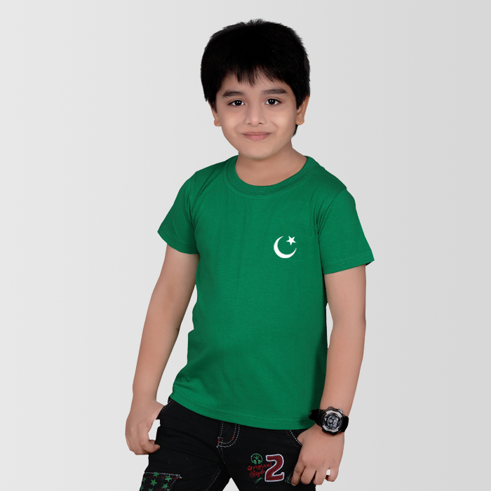 Pakistani Flag T Shirt With Small Crescent For Kids